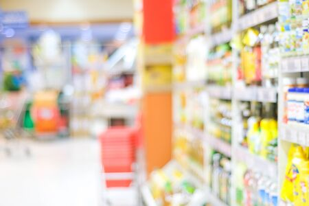 Blurred background, blur products on shelves at supermarket, grocery store background, business concept