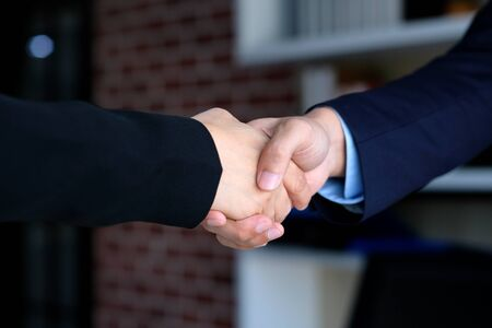 Businessman and woman handshake at office, business cooperation, success in business concept