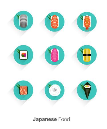 sushi set: sushi flat icons