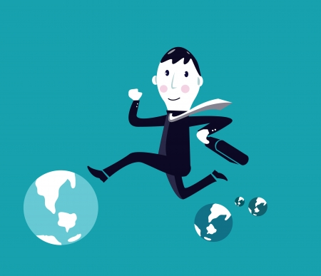 leadership businessman jump to next globe  Illustration