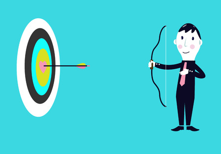 hits: Successful businessman hits the target Illustration