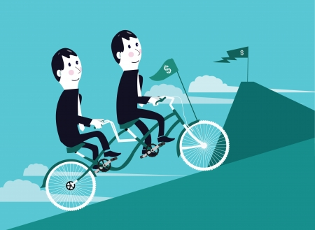 Two businessman riding tandem bicycle to goal flag