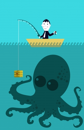 Business man catching big target  octopus