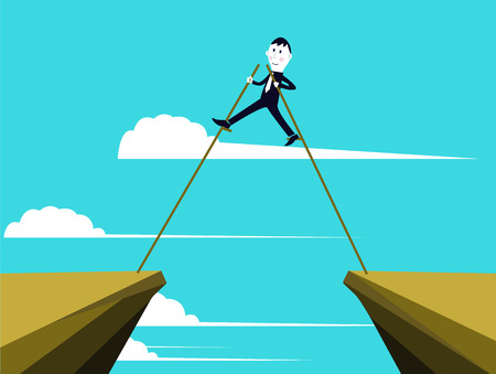 Businessman is getting through the obstacles to reach his goals Vector