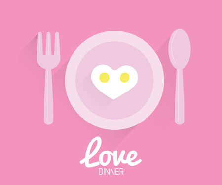 Heart-shaped fried egg.  Valentine Cards  vector