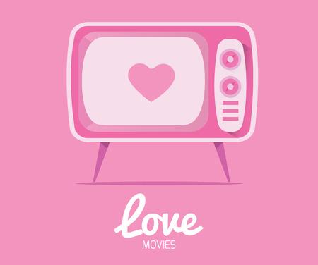 vintage television: Love Movie from vintage television Illustration