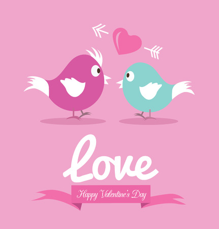 Cute couple bird in love.  Valentines Day Cards