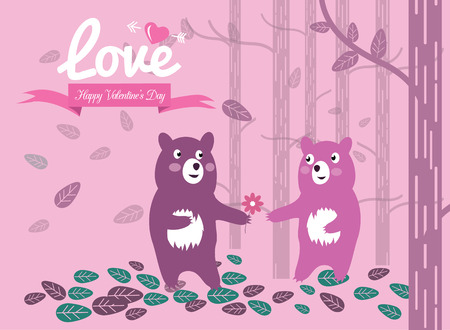Cute couple bears in the forest.  Valentines Day Cards