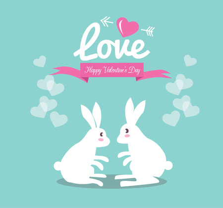 Cute couple rabbit in love
