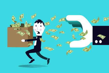 Terrified businessman hiding money from a big businessman hand Stok Fotoğraf - 26321146