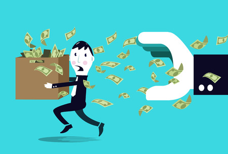 Terrified businessman hiding money from a big businessman hand