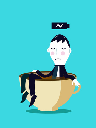 Businessman relaxing in a cup of coffee  Business Concepts  Vector