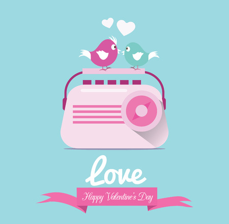 Couple birds listen love song from vintage radio  Vector
