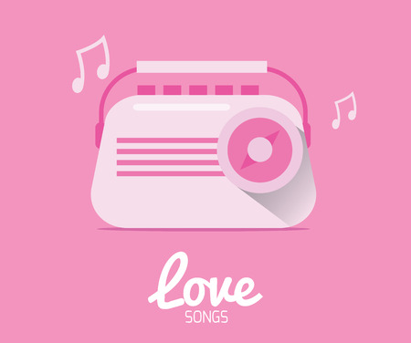 Love Song  Vintage Radio  Valentine Cards  Vector