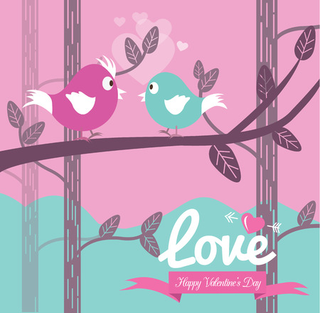 Cute couple bird in the forest.  Valentines Day Cards