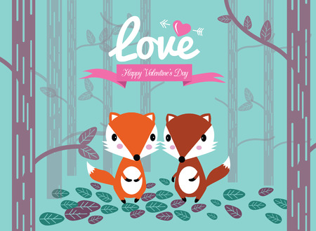 Cute couple foxes in the forest.  Valentines Day Cards Vector