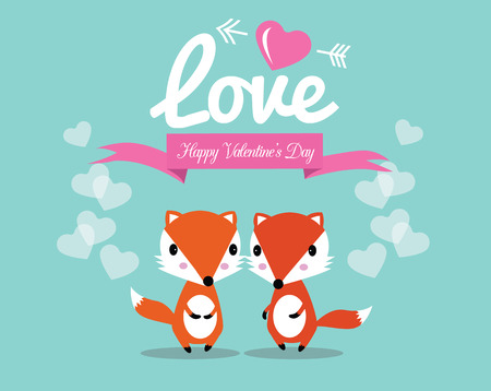 Cute couple foxes in love  Vector