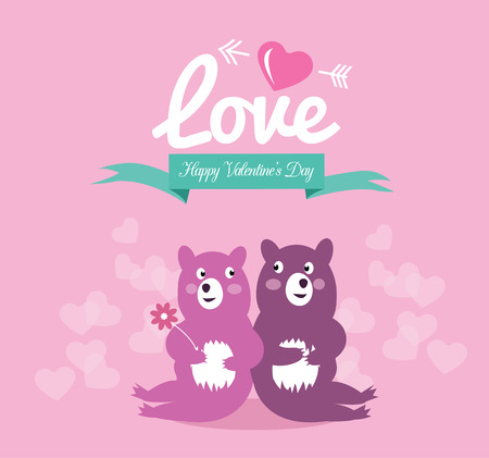 children s art: Cute couple bear in love