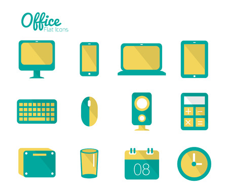 Office icon set  Flat design  Vector Illustration