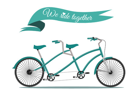 Noi cavalchiamo insieme di biciclette d'epoca vettore tandem Vettoriali