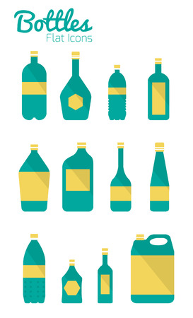 Bottles and package Icons  Flat Design  vector