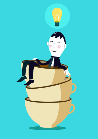 Businessman coming up and have fresh ideas after drink coffee  Illustration