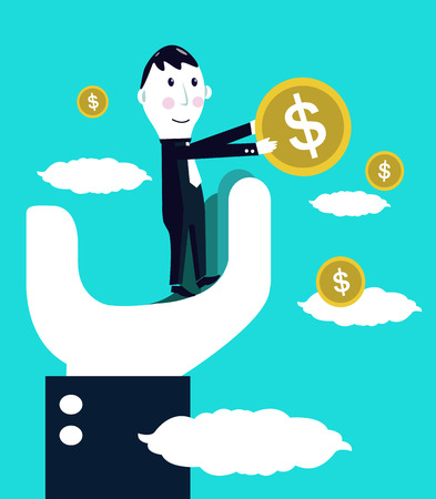 Big hand help Businessman catching money  business concept Illustration