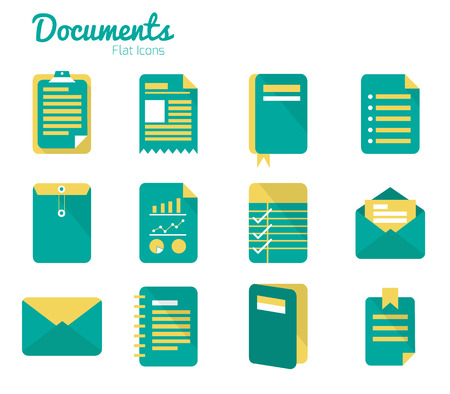 Documents icon set  Flat design  Vector Stock Vector - 26321285