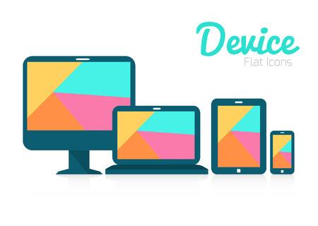 tablette pc: Tablet PC, t�l�phone mobile et les appareils num�riques ic�ne plat
