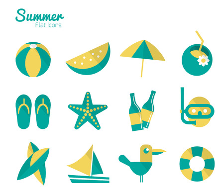 Summer Icons set 2  Flat design  Vector Vector
