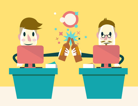 victorious: Two businessmen Enjoying Success  Business Concept  Vector