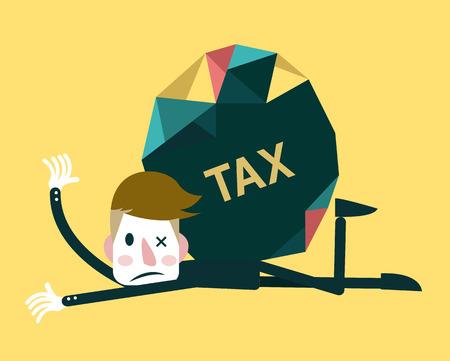 둥근 돌: 사업가 및 세금 부담 비즈니스 개념 벡터