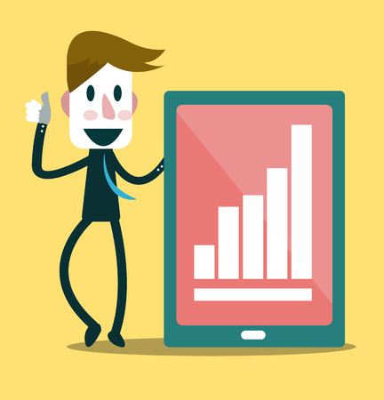 Successful businessman and growth chart