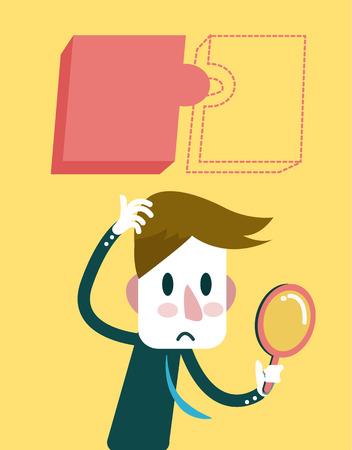cohesiveness: Businessman finding a hidden jigsaw puzzle