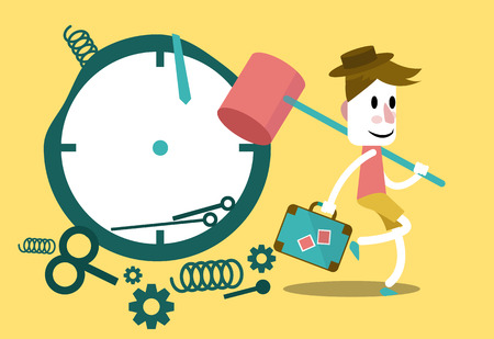 stop time: Businessman hitting clock and going on vacation