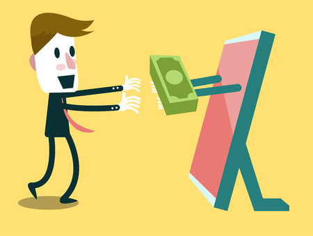 Exchange of money on the internet  business concept  vector