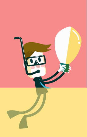 Businessman discover idea bulb from the ocean  Vector
