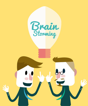 discuss: Two businessmen discuss and share ideas  Brainstorming concept