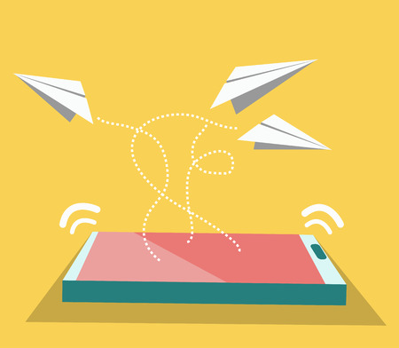 Paper airplane flying from smart phone  Social network