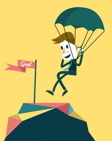 Businessman landing to the goal with parachute   Vector