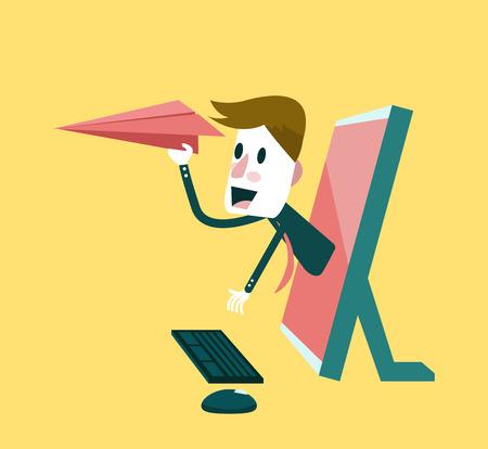 news update: Businessman sending an email.  Digital marketing concept  Vector