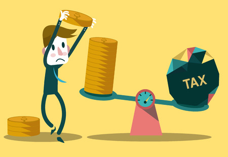 taxes: Businessman use coins balancing with TAX on scales