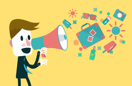Businessman shouting with loudspeaker  Vacation and travel Vector