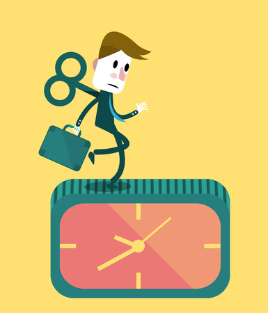 Businessman running on the clock.  Business concept