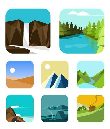 cascade mountains: outdoor icons  Flat design Vector