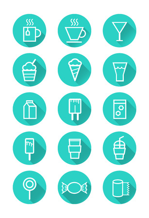 milk tea: Drink and Sweets  flat icon set  vector
