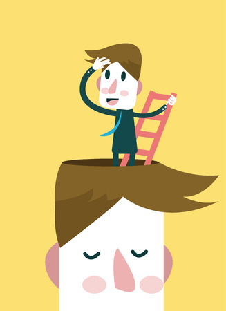 Businessman finding ideas and opportunity outside his head   Illustration