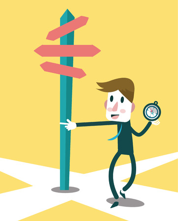 Businessman using compass to navigate the success way