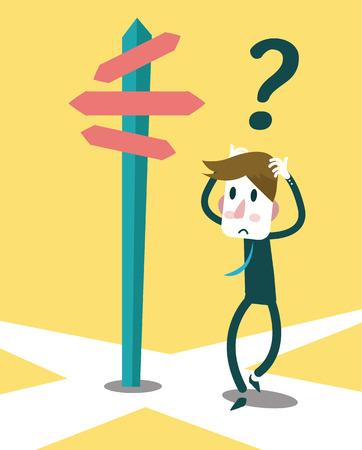 Businessman do not know where to go, Business concept