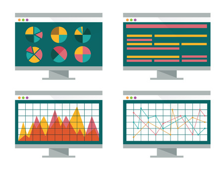 Financial graph on computer screen  flat design  vector